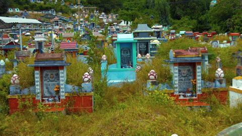 Usage modern Buddhist cemetery. FullHD video Footage