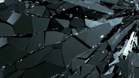 Broken and damaged glass slow motion. Alpha matte Animation