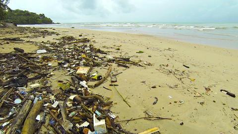 Dirt and debris on a tropical beach. Thailand. Phuket Footage
