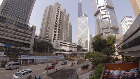 Streets of Hong Kong. View of Bank of China Tower Footage