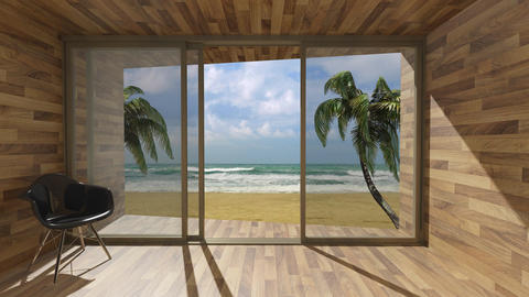 Looking out through the window at the sea in summer Animation
