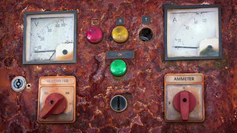Old Electrical Control Panel. UltraHD video Live Action