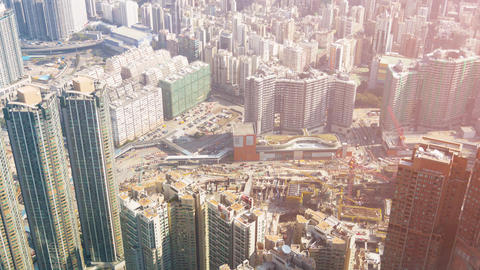 Hong Kong's Complex Urban Highway System from Above. UltraHD video Footage
