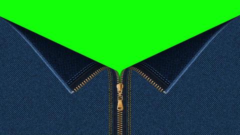 Jeans denim zipper open set with green screen background GIF