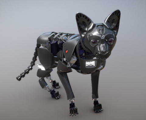 Cyber Robot Cat High poly Modelo 3D