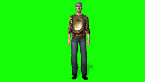 431 3d Handsome man seats ands stands up Animation