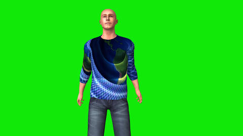 452 3d animated young bald man look arround and walk Animation