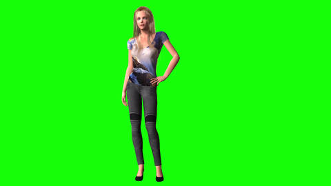 451 3d animated young beautiful girl poses and dances Animation