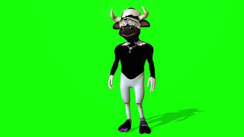 424 3d animated cartoon posh Bull walks Animation