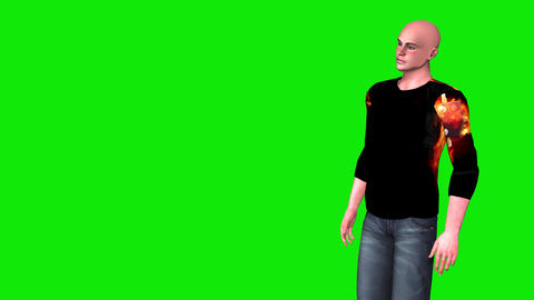 459 4K 3d animated young bald man talks Animation