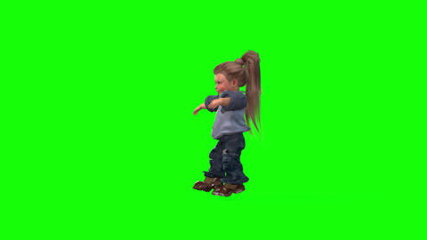 449 3d animated small girl with long hair dances Animation
