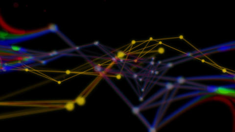 Abstract Background for Media Production. Polygonal Network Shape Dynamic Gradients 4K. Technology Animation