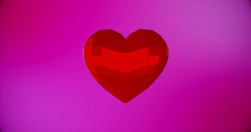 Happy Valentines Day background with red polygonal heart For Valentine's Day Animation