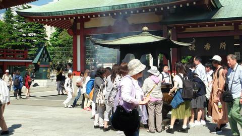 Tokyo - May 2016: Visitors at Senso-ji Buddhist temple. Asakusa. 4K resolution t Footage