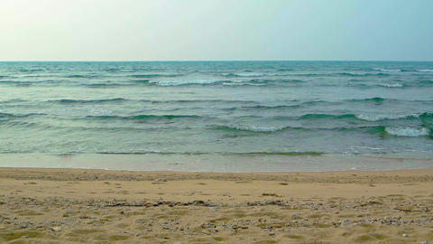 Gentle Waves of a Tropical Sea on a Sandy Beach Footage