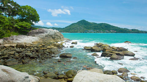 Gentle Waves on the Rocks in Phuket Thailand. with Sound Live Action
