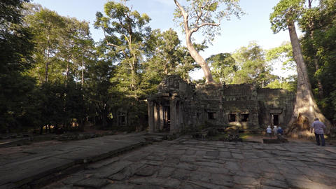 Tourists Visit Angkor Temple Ruins in Cambodia. Video 3840x2160 Footage