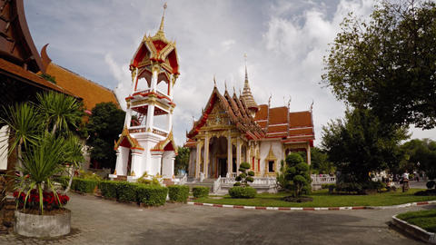 Gardens and Ornate Buildings of Wat Chalong in Phuket Thailand. Video 3840x2160 Live Action