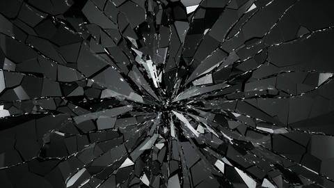 Broken and damaged glass slow motion 4k. Alpha matte Animation