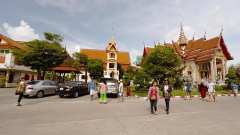Beautiful exterior of Wat Chalong's buildings and gardens. Video 3840x2160 Live Action