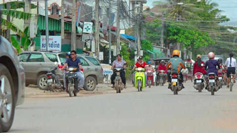 Typical traffic in Siem Reap. Cambodia. with sound. Video 3840x2160 Footage