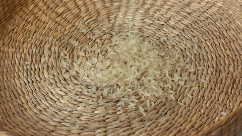 White rice in basket. Organic food rice Live Action