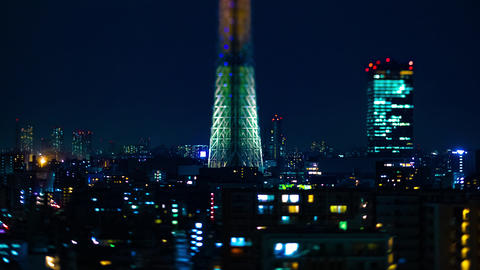 A night timelapse of Tokyo sky tree at the urban city in Tokyo tiltshift tilting Live Action