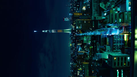 A night timelapse of Tokyo sky tree at the urban city in Tokyo vertical shot Live Action