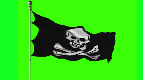 Jolly Roger Flag on a Green Screen Live Action