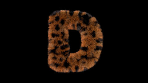 3D animated furry hairy zoo leopard text typeface with alpha channel D Animation
