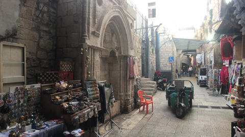 Jerusalem, Israel - October 20, 2019: old town with tourists walking the streets Live Action