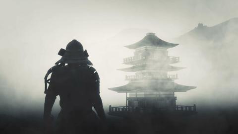 Samurai Bushido Warrior and a Japanese Temple Live Action