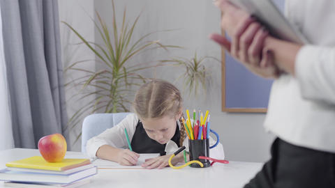 Charming smart Caucasian schoolgirl making i got an idea gesture and writing Live Action