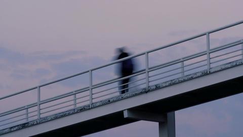 People walking on a footbridge timelapse Live Action