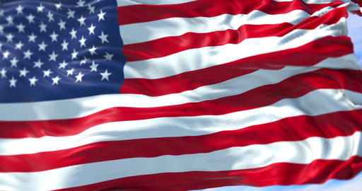 american USA flag, stars and stripes, united states of america on blue sky with Live Action