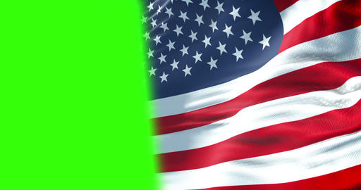closeup of half american USA flag, stars and stripes, united states of america on chroma key green Live Action