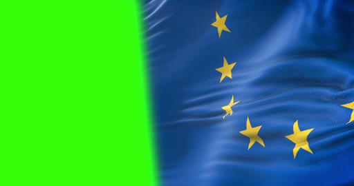 half european EU flag, euro flag, flag of european union waving, yellow star on blue background with Live Action