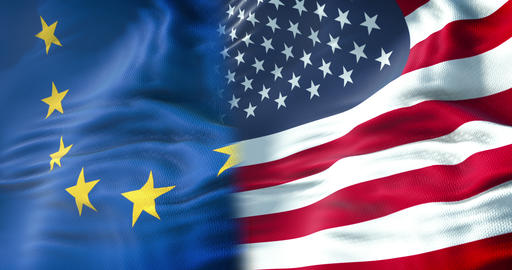 half flags of united states of america and half European Union flag, crisis between usa american and Live Action