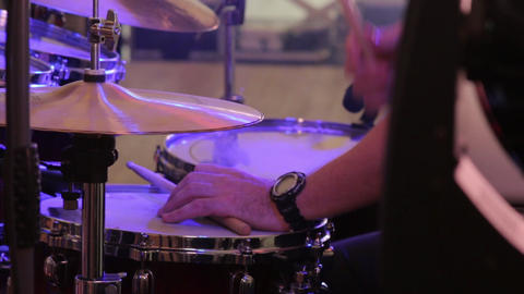 Musician Playing Drums Closeup Live Action