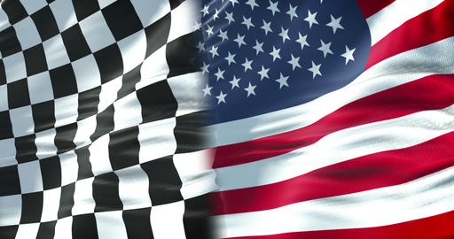 half flags of checkered flag, end race and half united states of america usa flag, sport formula one Live Action