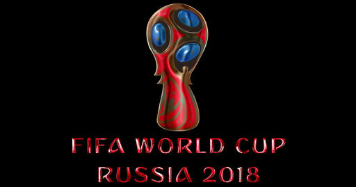Moscow, Russia, June 14 2018, FIFA - red metallic shiny word text with official color logo of the Live Action