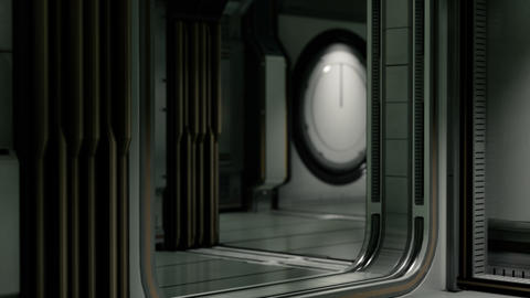 Clean sterile futuristic science fiction interior of a laboratory or spaceship Live Action