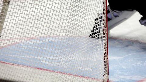Close-up goalkeeper in hockey goal Footage