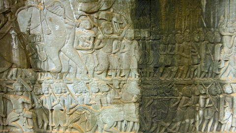Ancient Relief Carvings in Stone at Bayon Temple in Cambodia. Video 3840x2160 Live Action