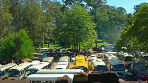Vehicle Parking outside Angkor Thom. an ancient walled city in Cambodia Footage