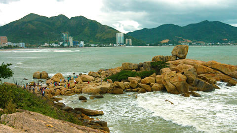 Tourists Climb on the Hon Chong Rocks in Nha Trang. Video UltraHD