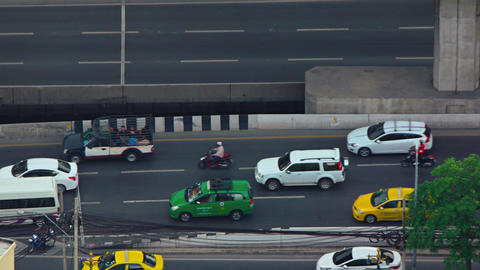 Typical heavy Traffic along an urban Highway. Video 4k Footage