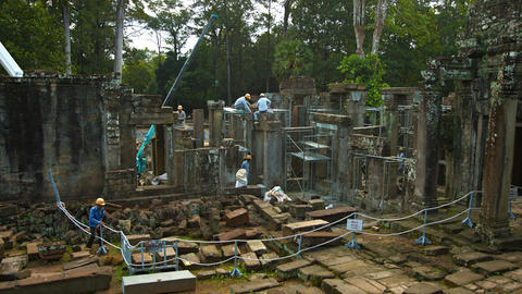 Archaeological restoration project at Bayon Temple. Siem Reap. Cambodia Footage