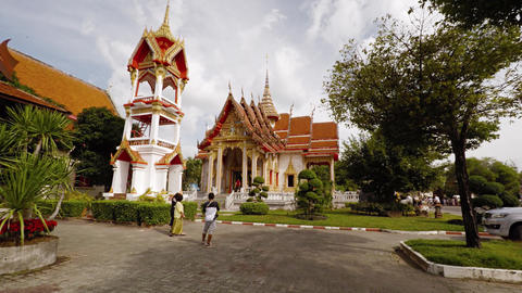 Wat Chalong. Buddhist temple and popular tourist attraction in Phuket. Thailand Live Action
