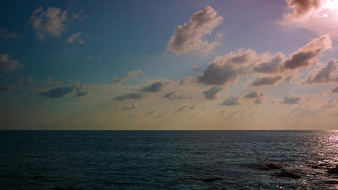 Evening sky above the ocean. Video UltraHD Footage